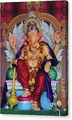 Statue Of Hindu Lord Ganesh Made Canvas Print by Jaina Mishra