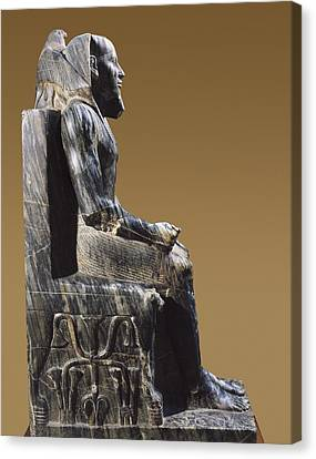 Statue Of Khafre Enthroned. 2520 Bc Canvas Print by Everett