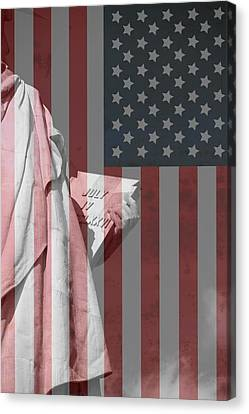 Statue Of Liberty And American Flag Canvas Print by Dan Sproul
