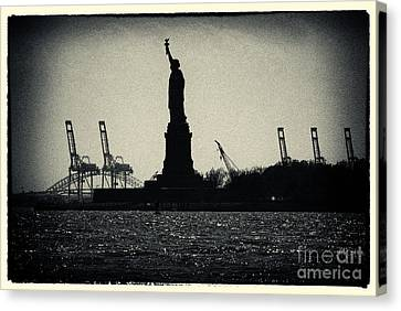 Statue Of Liberty And Waterfront New York City Canvas Print
