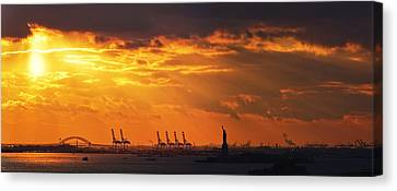 Statue Of Liberty At Sunset. Canvas Print