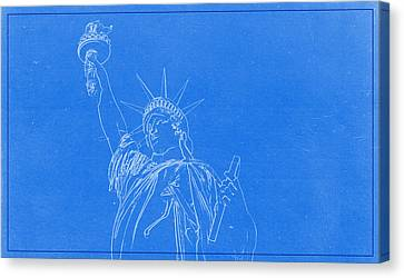 Lincoln Park Lagoon Canvas Print - Statue Of Liberty Blueprint by Celestial Images