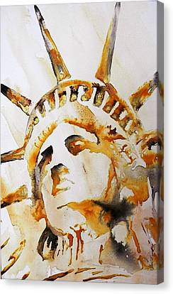 Statue Of Liberty Closeup Canvas Print by J- J- Espinoza