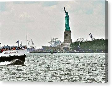Statue Of Liberty From Battery Park In New York City-ny Canvas Print by Ruth Hager