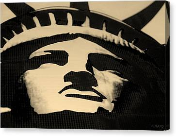Statue Of Liberty In Dark Sepia Canvas Print by Rob Hans