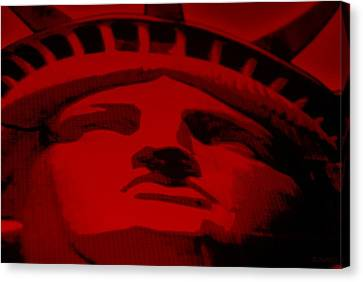 Statue Of Liberty In Red Canvas Print by Rob Hans