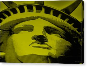 Statue Of Liberty In Yellow Canvas Print by Rob Hans