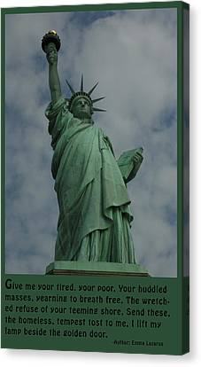 Statue Of Liberty Inscription Canvas Print by National Park Service