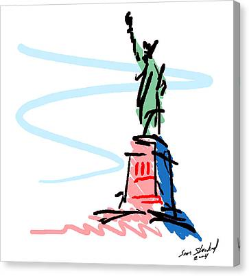 Statue Of Liberty Canvas Print by Sam Shacked