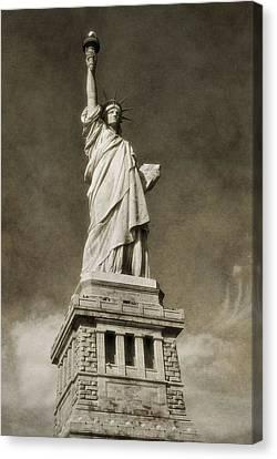 Statue Of Liberty Sepia Canvas Print