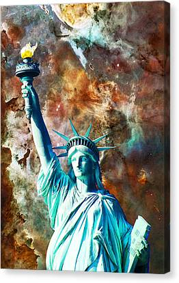 Statue Of Liberty - She Stands Canvas Print by Sharon Cummings