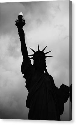 Canvas Print featuring the photograph Statue Of Liberty Silhouette by Dave Beckerman