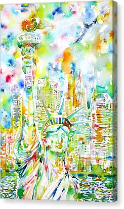 Statue Of Liberty - Watercolor Portrait Canvas Print