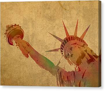 Statue Of Liberty Watercolor Portrait No 3 Canvas Print by Design Turnpike