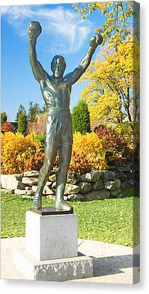 Statue Of Rocky Balboa In A Park Canvas Print