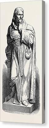 Statue Of Sir Michael De La Pole At Hull 1871 Canvas Print by English School