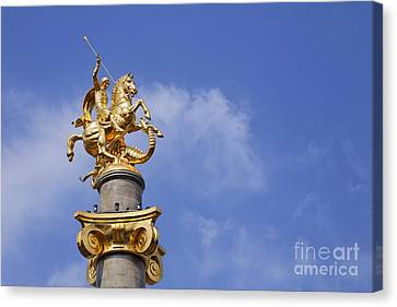 Statue Of St George And The Dragon In Tbilisi Canvas Print by Robert Preston