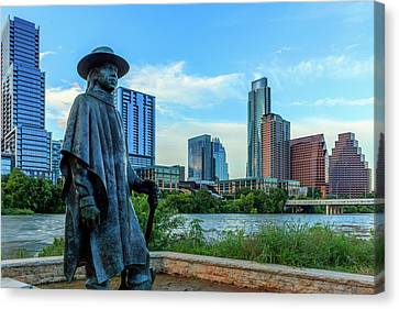Statue Of Stevie Ray Vaughan Canvas Print by Panoramic Images