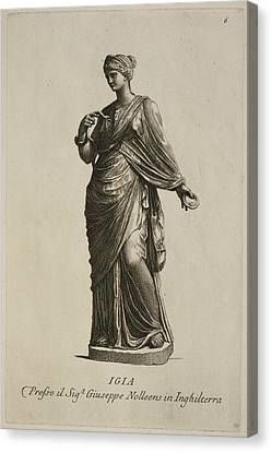 Statue Of Woman In Classical Robes Canvas Print by British Library
