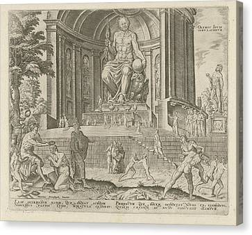 Statue Of Zeus At Olympia, Philips Galle Canvas Print by Philips Galle And Hadrianus Junius