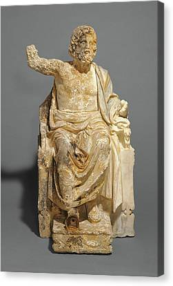 Zeus Canvas Print - Statue Of Zeus Enthroned Unknown About 100 B by Litz Collection