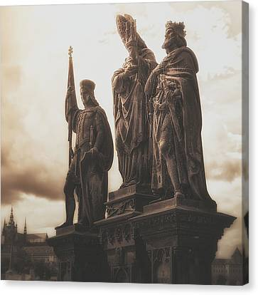 Statues Along Karl Bridge  Prague Canvas Print by Robert Schenck