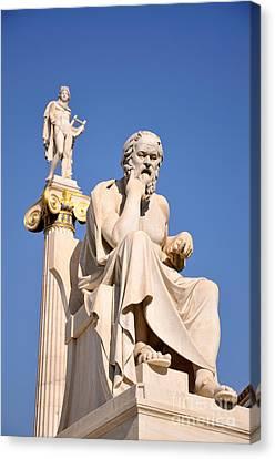Statues Of Socrates And Apollo Canvas Print