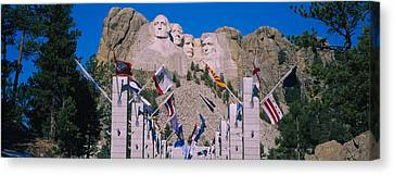 Statues On A Mountain, Mt Rushmore, Mt Canvas Print by Panoramic Images