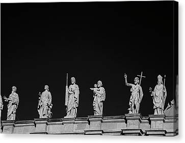 Heritage Montreal Canvas Print - Statues On Mary, Queen Of The World by David Chapman