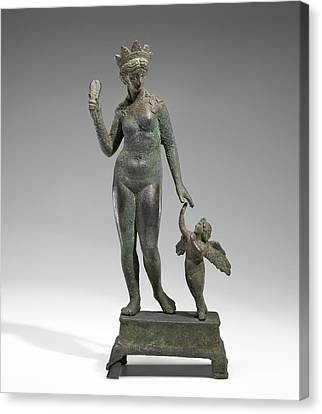 Statuette Of Aphrodite And Eros On A Base Unknown Probably Canvas Print by Litz Collection