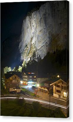 Staubbach Falls At Night In Lauterbrunnen Switzerland Canvas Print