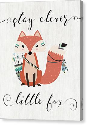 Stay Clever Little Fox Canvas Print by Tara Moss