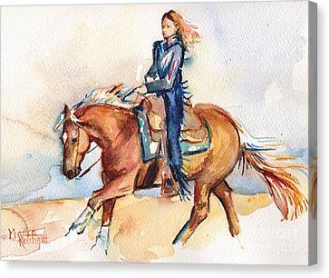 Palomino Horse Stay Gold Canvas Print by Maria's Watercolor