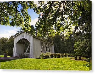 Stayton-jordan Covered Bridge Canvas Print by Mark Kiver