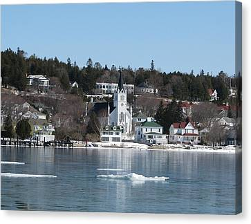Ste. Anne's Catholic Church On Mackinac Island Canvas Print by Keith Stokes