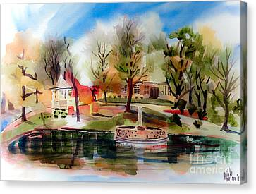 Ste. Marie Du Lac With Gazebo And Pond IIi Canvas Print by Kip DeVore