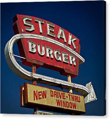 Steak Burger Canvas Print by Bud Simpson