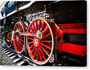 Steam And Iron - Wheels Of Steel Canvas Print by Alexander Senin