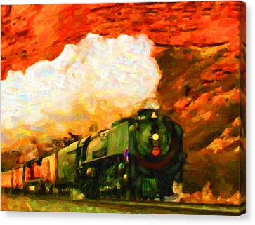 Canvas Print featuring the digital art Steam And Sandstone by Chuck Mountain