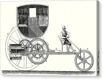Old Car Canvas Print - Steam Car Driving On Ordinary Roads Built In 1801 by Trevithick, Richard Trevithick (1771-1833) And Andrew Vivian (1759?1842), British