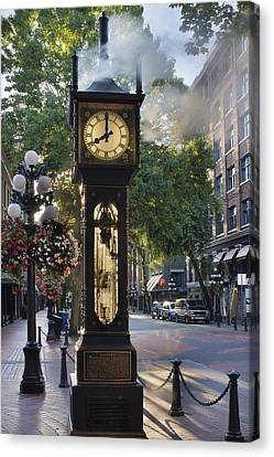 Steam Clock At Gastown Vancouver In The Morning Canvas Print by Jit Lim