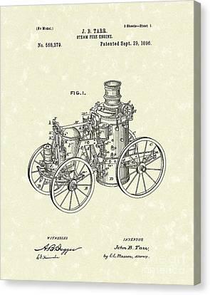 Steam Engine 1896 Patent Art Canvas Print