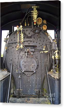 Steam Engine 444 Fire Box And The Controls Canvas Print by Kim Pate
