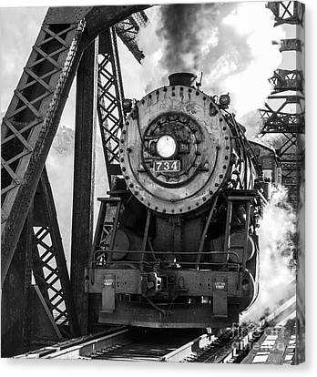 Steam Engine 734 Leaving The Narrows Canvas Print