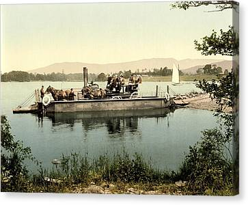 Horse And Cart Canvas Print - Steam Ferry, Lake Windermere, Uk by Science Photo Library