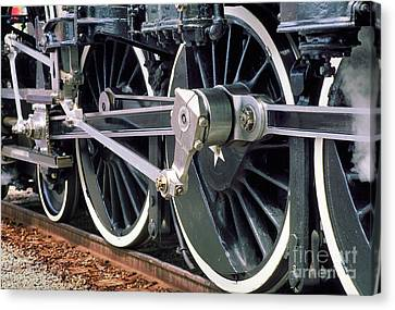 Steam Locomotive Coupling Rod And Driver Wheels Canvas Print by Wernher Krutein