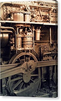 Steam Locomotive Train Detail Sepia Canvas Print