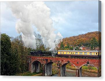 Steam Locos On Coalbrookdale Viaduct Canvas Print by Paul Williams