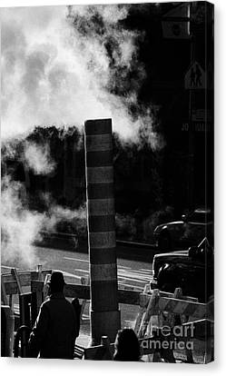 Manhaten Canvas Print - Steam Pipe Vent Stack With Road Works And Pedestrians New York City by Joe Fox