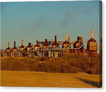 Canvas Print featuring the photograph Steam Plant In Cymric Field by Lanita Williams